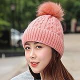 H.ZHOU Hat Herbst und Winter Damen Warme Wollmütze Monochrome High Top Hat Frauen-Elastic Cap Hohe...