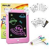 PHYLES Magic Drawing Pad, LED Zaubertafel Kinder 3-12 Jahre, enthält 19 Drawing Maltafel Pad (Buchstaben, Zahlen, Muster), 4 Zeichenstifte, 1 Reinigungstuch,Das perfekte Lernspielzeug (Rosa)