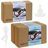 ALPIDEX Yogablock aus Kork 23 x 14 x 7,5 cm einzeln und im 2er Set Korkblock Fitnessblock Yogaklotz,...