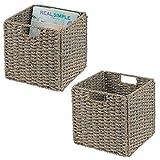 mDesign 2er-Set Aufbewahrungskorb – faltbare Aufbewahrungsbox aus Seegras – Regalkorb mit...