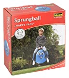 Idena 40094 - Sprungball Happy Face in blau, Durchmesser ca. 45 - 50 cm, belastbar bis 50 kg, ideal...