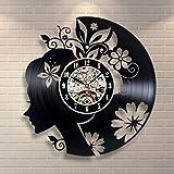 Blumen und Mädchen Vintage CD Vinyl Wallwood Tisch Lampe Nachttisch Lampe Batterie Tischlampe