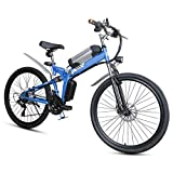 RXRENXIA Folding Elektro-Fahrrad, Elektro-Mountainbike, Faltbar Mit Verstellbarem Sitz Aluminium...