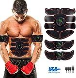 SHENGMI EMS Trainingsgerät Bauchmuskeltrainer Bauchtrainer Muskelstimulator mit 6 Modi und 10...