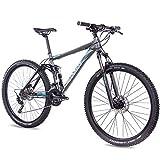 CHRISSON 29 Zoll Mountainbike Fully - Hitter FSF grau blau - Vollfederung Mountain Bike mit 30 Gang...