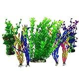 Aquarium Wasserpflanzen, PietyPet 7 Stück Großen Kunststoff Pflanzen Aquarium Aquariumpflanze...