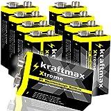 kraftmax 8er Pack Xtreme 9V Block Hochleistungs- Batterien ideal für 10 Jahres Rauchmelder - 6LR61...
