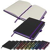 Notizbuch mit kontrastierenden Papierkanten im A5-Format, liniert, Hardcover, Notizbuch, Notizbuch, Notizbuch, Tagebuch, Block (lila)