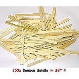 1a-becker 250 Bambus Spieße Picker Holz Pommes Gabeln Sticks Mini Cocktailgabel Party Grill
