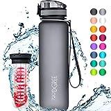 """720°DGREE Trinkflasche """"uberBottle"""" - 1 Liter, 1000ml, Grau - Neuartige Tritan Wasser-Flasche -..."""