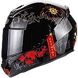 Unisex Reiter volle Abdeckung Helm, beschlagfrei durch Doppeldeckglas Motorradhelm voll Removable waschbares Innenfutter Sicherheits Kollision Helm, ECE / DOT-Geländewagen Chopper im Freien (Farbe: B)