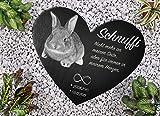 Laserelements Schiefer Herz Tiergrabstein Gedenktafel Grabstein mit Fotogravur für Kaninchen...