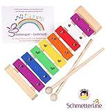 Harmonisches Xylophon für Kinder aus Holz – Glockenspiel mit Notenbuch und Holz-Schlägeln –...
