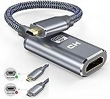 4k Micro HDMI Adapter, Snowkids Micro HDMI auf HDMI Adapterkabel Nylon Micro HDMI zu HDMI Kabel 3D 1080P HDMI Typ D auf Typ A Micro HDMI Kabel Kompatibel für Raspberry Pi 4,Gopro,Kamera,Laptop-Grau