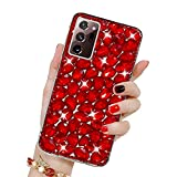Bling Glitzer Hülle für Galaxy Note 20 Ultra, Misstars 3D Diamant Strass Handyhülle Transparent Hart PC Rückschale mit Silikon TPU Rahmen Schutzhülle für Samsung Galaxy Note 20 Ultra, Rot
