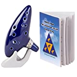Deekec Legend of Zelda Ocarina 12 Loch Alt C mit Songbuch (Songs from the Legend of Zelda) blau