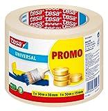 tesa Malerband UNIVERSAL - Vielseitiges Klebeband für Malerarbeiten ohne Lösungsmittel - Bis zu 4 Tage nach Gebrauch rückstandslos entfernbar - 2 x 50m x 30mm + 1 x 50m x 19mm