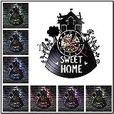 TPYFEI 1 Stück Home Sweet Home Wandkunst Schallplatte Wanduhr Kinder Schaukel Haus Modernes Design...