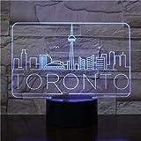 jiushixw 3D acryl nachtlicht mit Fernbedienung Farbwechsel tischlampe Toronto Stadt atmosphäre Baby...
