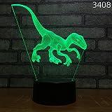 BFMBCHDJ Neue Dinosaurier 3D Nachtlampe Acryl Laser Stereo Illusion 7/16 Farben Fernbedienung Kinder...