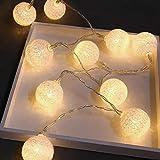 Cotton Ball Lichterkette, Kugel Lichterkette, 3.7m 20 LED Baumwollkugeln Lichterkette Bälle Lichterkette, Für Innen, Weihnachten, Zuhause, Kinderzimmer, Balkon, Hochzeit, Garten, Party Deko