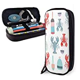 Color Sandbag Lobsters Pattern PU Leather Pouch Storage Bags Portable Student Pencil Office...