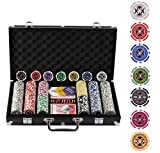 Display4top Pokerkoffer 300 Chips Laser Pokerchips Poker 12 Gramm , 2 Karten, Händler, Small Blind,...