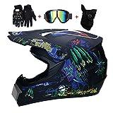 OUTLL Volles Gesicht Motocross Helm Set, mit Handschuhe Brille Maske, Offroad Motorrad Helm Strand...