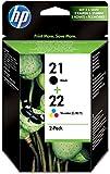 HP 21/22 Multipack Original Druckerpatronen (1x Schwarz, 1x Farbe) für HP Deskjet 3940, D1530, D2360, D2460, F2180, F2224, F380, F4180; HP Officejet 4315, 4355, 5610, 5615; HP PSC 1410