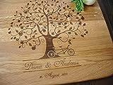 Personalisiertes Schneidebrett Handgefertigt mit Apfelbaum, Tandem. Fahrrad. Frühstücksbrettchen....