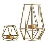 Nuptio 2 Stück Metall Sechseck Geformt Geometrisches Design Teelicht Votiv Kerzenhalter, Eisen Hohl...