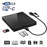 Externes DVD-CD-Laufwerk Typ C und USB 3.0 CD-DVD-RW-Lesegerät mit SD-TF-Kartenleser und...