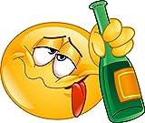 easydruck24de 1 Smiley-Aufkleber Drunk I kfz_254 I 12,5 x 9 cm groß I Emoji Sticker betrunken...