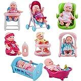 deAO Spielset mit 8 Mini Babypuppen, inklusive passendem Zubehör wie zum Beispiel, einen Spielzeug...