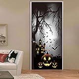 FQCJD Türaufkleber Kürbis Halloween Nacht Scary TreeDoor Aufkleber 3D Dekorative Wohnkultur Zimmertür Schlafzimmer Wohnzimmer 77x200cm
