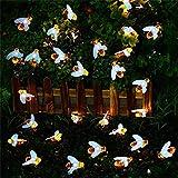 Solar Honig Biene Fairy String Lights, 6,5m 30 D Solargarten String Lichter Outdoor Biene Fairy Lights für Garten Terrasse Blume Bäume Rasen Landschaft Weihnachtsdekor BJY969 (Color : White)