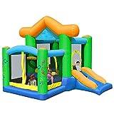AJH Bouncy Castle Kids Aufblasbares Indoor-Trampolin Großes Türsteherhaus mit Langer Rutsche...
