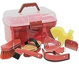 Putzbox Putzkiste befüllt mit Zubehör für Pferde Farbe: rot | Putzkasten | Putzkoffer Putzbox mit...
