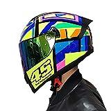 Super-ZS Motocross-Helm, Anti-Fog-Farbspiegel Profi-Rallye-Motorrad 45-Muster-Helm Abnehmbarer Und Waschbarer Rennhelm Für Erwachsene