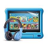 Fire HD 8 Kids-Tablet (blaue kindgerechte Hülle) + BuddyPhones PlayTime-Bluetooth-Headset (blau, Altersklasse: 3-7 Jahre) + NuPro-Displayschutzfolie (2er-Pack)