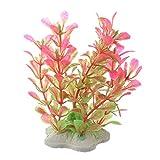 Yaootely Kunstpflanze 10CM Aquarium Dekoration Wasserpflanze pink+Gruen