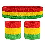Igemy [1 Headband + 2 Wristbands] Stirnband Set Deutschland, Unisex Sport Schweißband Set Baumwolle...