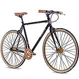 CHRISSON 28 Zoll Vintage Fixie Singlespeed Retro Fahrrad FG Flat 1.0 schwarz Gold 56 cm - Urban Old...