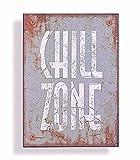 Wandschild Metall Shabby Dekoschild Chill Zone Dekoration von Haus der Herzen