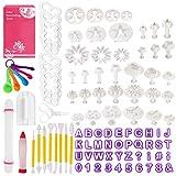Familybox Backen Fondant Set, 99 TLG Fondant Ausstecher Set Ausstechformen für Buchstaben Zahlen, Rose Blume Formen Set für Torten Deko