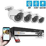 Jennov 4CH ÜberwachungskameraSet, 4 PoE IP 3MP HD Kamera mit NVR Rekorder, Videoüberwachung...
