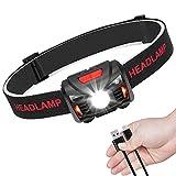LED Stirnlampe Kopflampe USB Wiederaufladbare Mini stirnlampen Wasserdicht Leichtgewichts Perfekt...