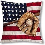 Wadestar Baseball Handschuh Schläger und Ball auf American Flag dekorative Kissen Kissenbezug...