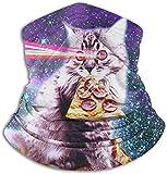 mjmhvfhtgdcx Fleece-Halswärmer, Gamasche, Pizza, Katze, Weltraum, weiche Mikrofaser, Kopfbedeckung...
