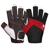FitsT4 Kajak-Handschuhe 3/4-Finger gepolsterte Handfläche – Mesh-Rücken für Komfort – Perfekt...